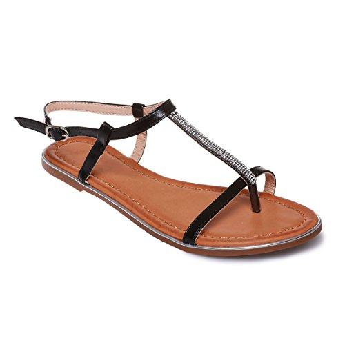 La Modeuse - Sandales plates en simili cuir ornées destrass Noir