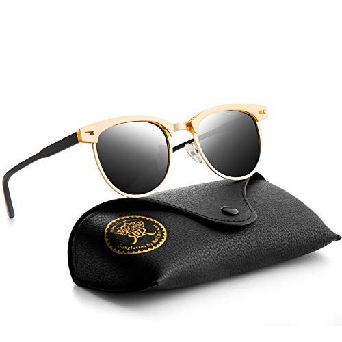Rocf Rossini Polarisierte Sonnenbrille Herren Damen Retro Sonnenbrille Gold Sunglasses Men Polarisierte Sonnenbrille Retro Frauen UV400