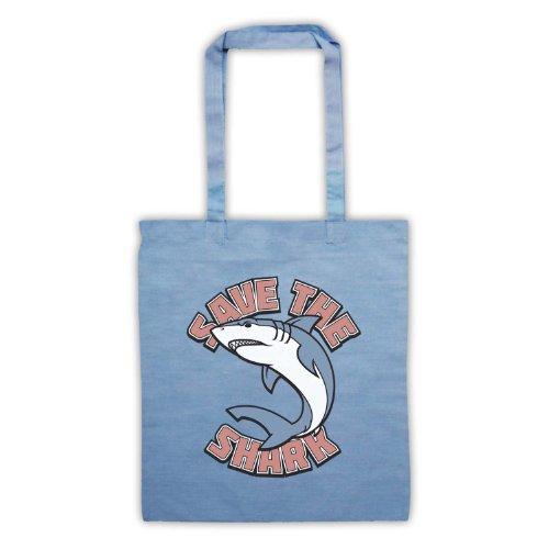 Salvare il squalo slogan stile borsa Sky Blue