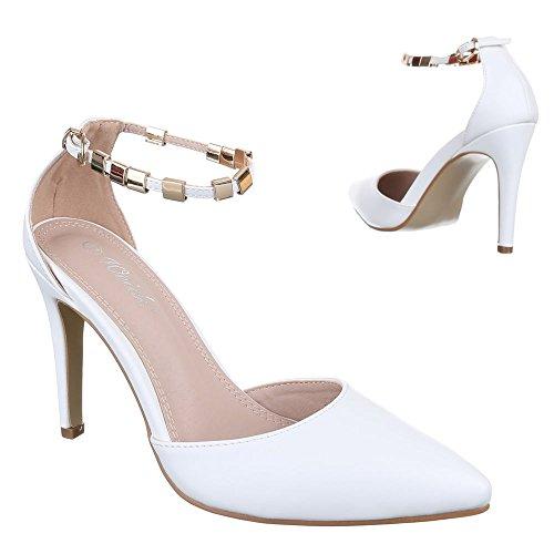 Ital-Design - Scarpe con plateau Donna Bianco (bianco)