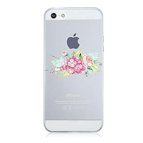 Coque iPhone 5/5S/SE,Vanki® Motif Plantes à fleurs Housse Transparente , Housse TPU Souple Etui de Protection Silicone Case Soft Gel Cover Anti Rayure Anti Choc pour Iphone5/5S/SE (3)