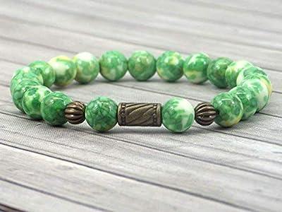 Bracelet pour femme vintage tibétain en perles de jade teinté en vert et jaune