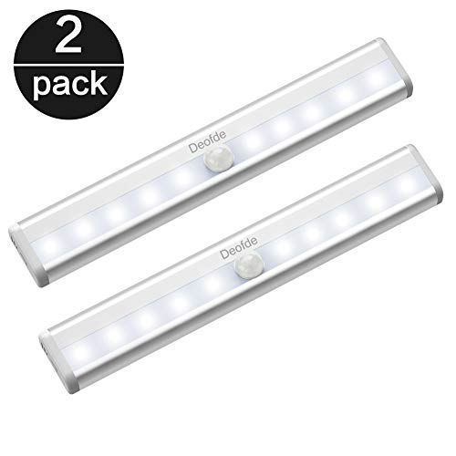 Deofde Led Armadio Sensore Movimento Luce, Sensore di luminosità interno, Auto-On/Off, Lampada notturna a LED per armadio/cassetto/percorso, 10 LED, 2PCS