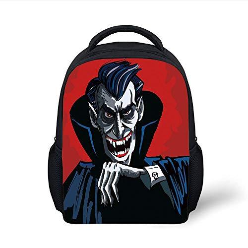 Kids School Backpack Vampire,Cartoon Cruel Old Man with Cape Sharp Teeth Evil Creepy Smile Halloween Theme,Blue Red Grey Plain Bookbag Travel Daypack (Kinder Für Vampir-capes)
