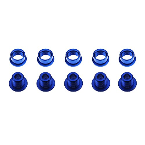 CYSKY Einzelne Kettenblattschrauben 5er-Pack M8 Single Short Chain Ring Bolts Fit für Rennrad, Mountainbike, BMX, MTB, Fixie(Blau)