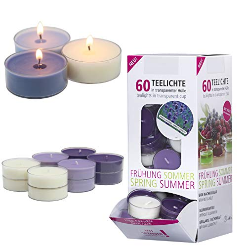 Smart planet® candele per ambienti, set di 60 candele tealight profumate, fragranze vaniglia e lavanda, lumini profumati in dispenser, in custodia trasparente