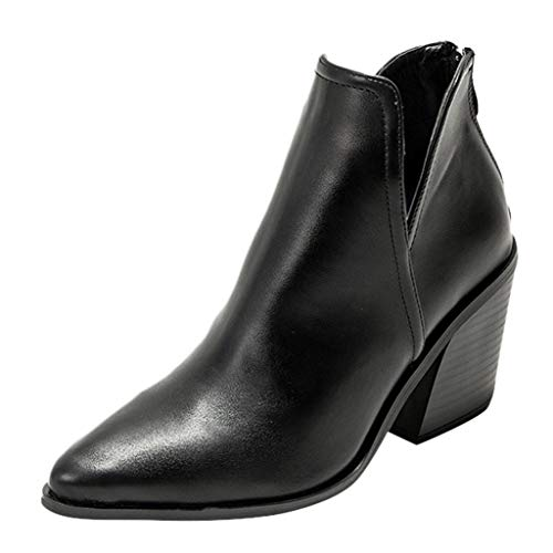 Topassion Ankle Boots for Women Block Heel Leather Chelsea Boots Ladies Winter Low Flat Booties Mid Heeled Shoes Ladies Square-Heeled Pointed High Heel Fashion Short-Tube Cut Out Short Boot