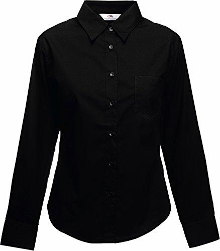 Popelin Langarm-Bluse - Farbe: Jet - Größe: M