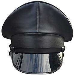 Joyplay Gorra de Oficial de Policia Militar Enarbolada para Hombres Sombrero Que Lleva del Club de Cuero de La PU, 57