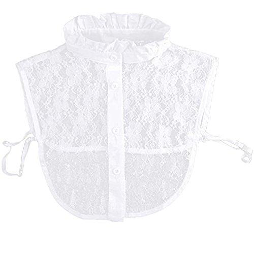 Damen Cotton Lace H?¶hlen gefälschte halbes Hemd abnehmbare Shirt Bluse Krawatte falsch Plum Stand Kragen mit Büste Gummiband weiß