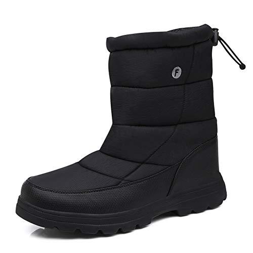 Winterstiefel Warm Gefütterte Schneestiefel Herren Damen Winterschuhe Stiefelette Outdoor Wasserdicht Boots (Schwarz, 45)