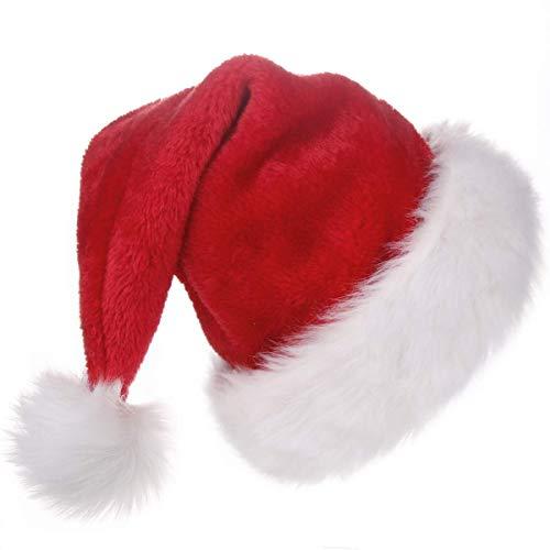 KFZR Unisex-Weihnachtsmann mütze für Erwachsene, Samtweihnachtsmütze Nikolausmützen Weihnacht Nikolaus