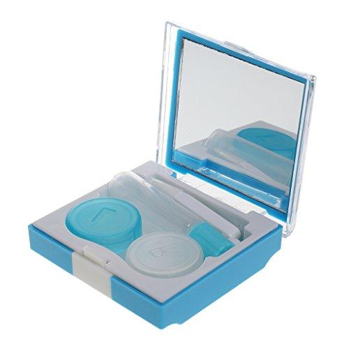 Tragbare Kontaktlinsen Behälter, Aufbewahrungsbehälter, Linsenbehälter mit Spiegel usw. Werkzeug - Blau (Linsenbehälter Spiegel)