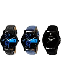 Matrix Black Dial & Multicolor Leather Strap Analog Watches for Men/Boys - Combo (Pack of 3) - (TRP-21)