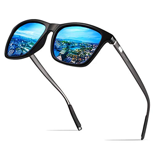 LEDING&BEST Wayfarer Sonnenbrille für Herren Damen Polarisierte Vintage Sonnenbrille/Sommer Strand Outdoor Sportarten Brille (Blue)