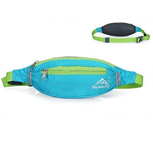 Cintura in vita, borsa impermeabile Oxford marsupio da corsa leggera doppia zip borsa per ciclismo, trekking, campeggio arrampicata viaggiare, purple Lake blue