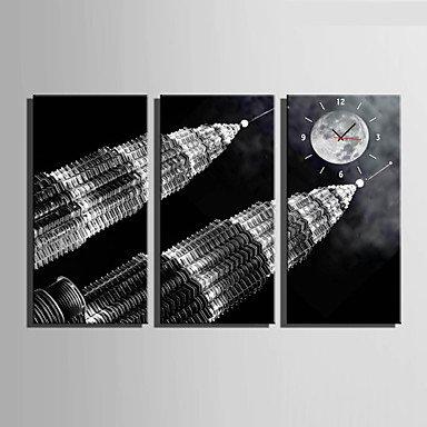 Y & M moderne/contemporain autres Horloge murale rectangulaire toile 30 x 60 cm (12inchx24inch) x3pcs/40 x 80 cm (16inchx32inch) x3pcs au couvert 12\