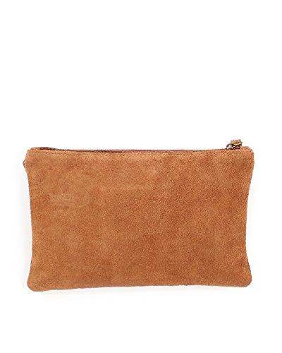 Leder Clutch braun kleine Ledertasche Wildleder Umhängetasche Abendtasche klein Partytasche Handtasche Lederhandtasche 31-ca -