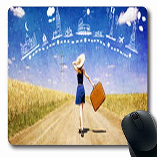 Luancrop Mousepads Landschafts-einsames Mädchen-Koffer-Land-Dorf-Straße, die Parks im Freienspielraum-Reise-längliches Spiel-Mausunterlage-rutschfeste Gummimatte träumt -