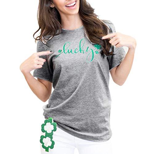 Epig St. Patrick's Day graue Bluse für Frauen Baumwolle Kurzarm T-Shirt Top Tees (Day Kleidung St S Kleinkinder Für Patrick)