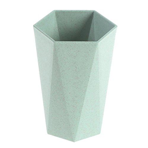 Waschen Tasse, Weizen Stroh Kunststoff Mug Becher, Creative Geometry Brushing Paar Water Cup, Verwendung für Wasser, Kaffee, Milch, Saft & Tee - Grün (Stroh Tassen Für Kleinkinder)