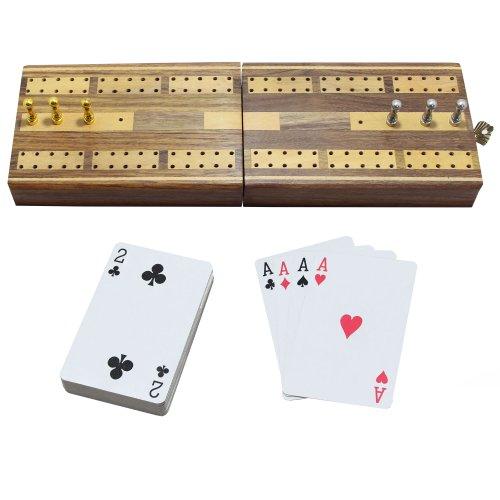 2 verfolgen Faltreifen Cribbage Holzbrett mit 1 Plattform-Kartenhalter und 6 Metall-Heringe, 2er Set