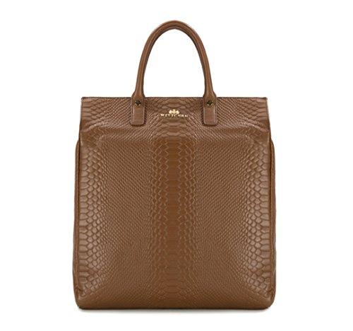 WITTCHEN Damen Henkeltaschen Damentasche, 11x51x32 cm, Hellbraun, Leder, Echtleder, Handmade, 82-4E-418-5