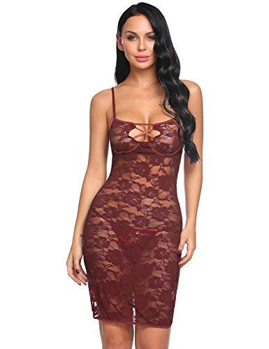 Imposes Conjunto de lencería Sexy para Mujer Body de Encaje Floral Bodydoll Vestido Transparente Leggings