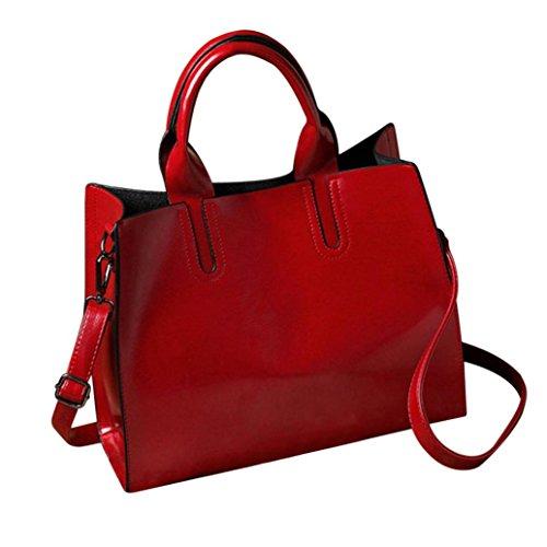 TUDUZ Damen PU Leder Handtasche mit Messenger Schulterriemen Kuriertasche (Rot) (Fossil Damen Sonnenbrille)