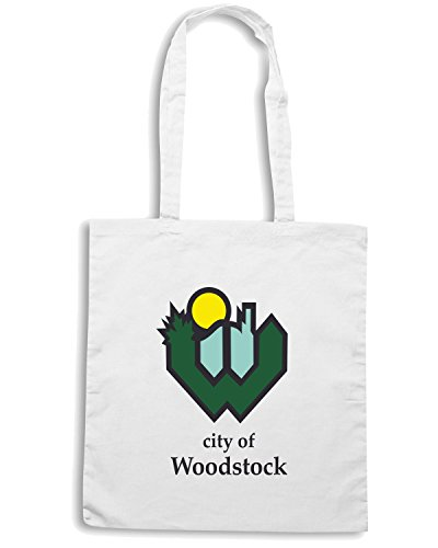 T-Shirtshock - Borsa Shopping TM0067 City Of Woodstock citta Bianco