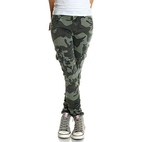 Damen Hose Shipment Camouflage High Waist 21457, Farbe:Grün, Hosengröße:S