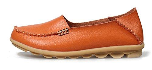 Auspicious beginning Chaussures Mocassins en Cuir Pour Dames Orange