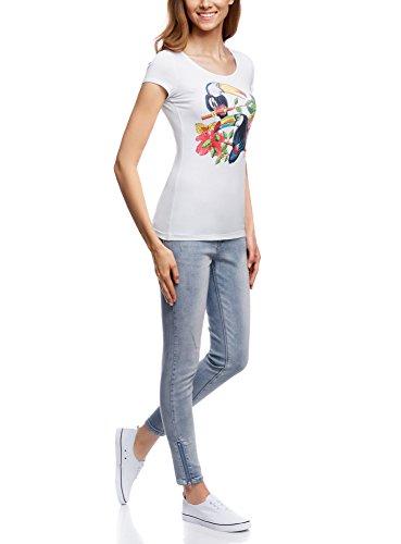 oodji Ultra Damen T-Shirt mit Schlüssellochausschnitt am Rücken Weiß (1219P)