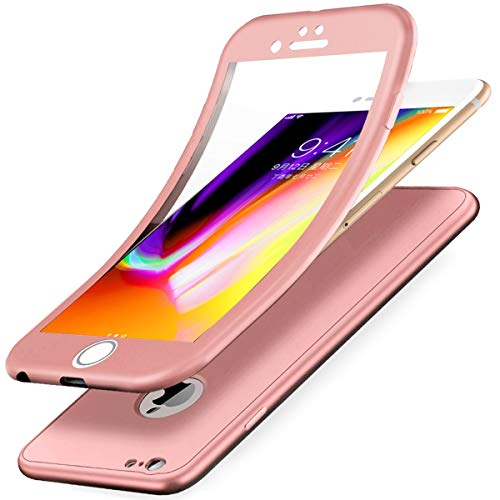 CHIMIVV iPhone 6S/6 Hülle,Full-Body 360 Grad Panzerglas Schutzfolie TPU Silikon Hülle Handyhülle Front Back Double Beidseitiger Cover Case Schutzhülle für iPhone 6S/6(Rose Gold) - Gold Schutzhülle