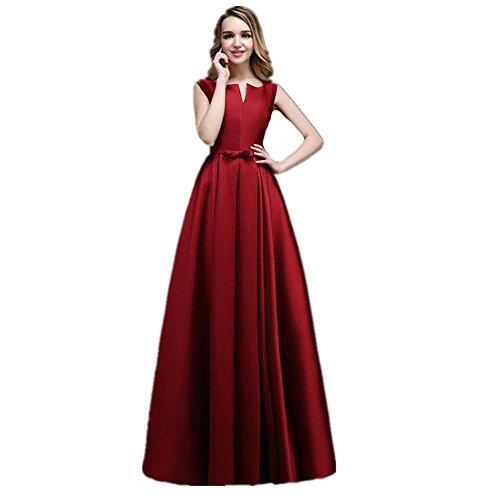 raut Bridesmaids Geburtstag Prom Satin-Kleid Mit V-Ausschnitt Schlank Bankett Sleeveless Verband Frauen Lange Kleider . Red . Us20 (Brown-bag-puppen Halloween)