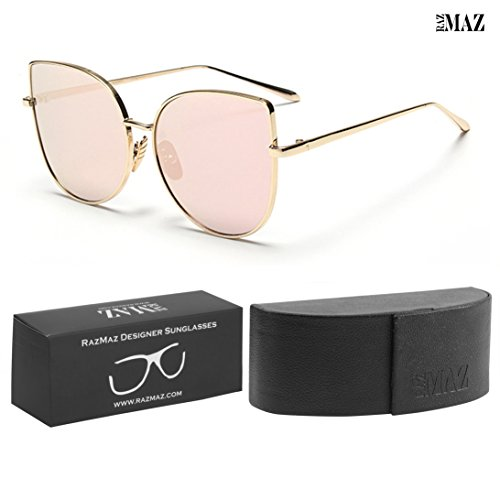 Cat-Eye Sun-glasses by RazMaz for - Women Men Latest Stylish Mirror - Design Polarized Metal-Flat Lenses with Sunglass Case- UV400 Protection (Rose Gold)