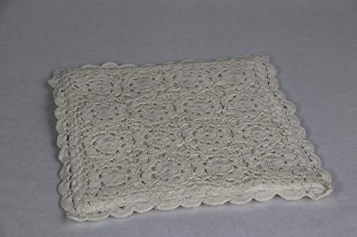 Chic Antigue Topflappen gehäkelt Rose Shabby Landhaus Häkel Spitze Geschenk Idee 100% Baumwolle ca. 20x20 cm Ecru