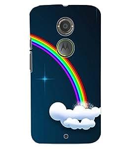 ColourCraft Rainbow Pattern Design Back Case Cover for MOTOROLA MOTO X2