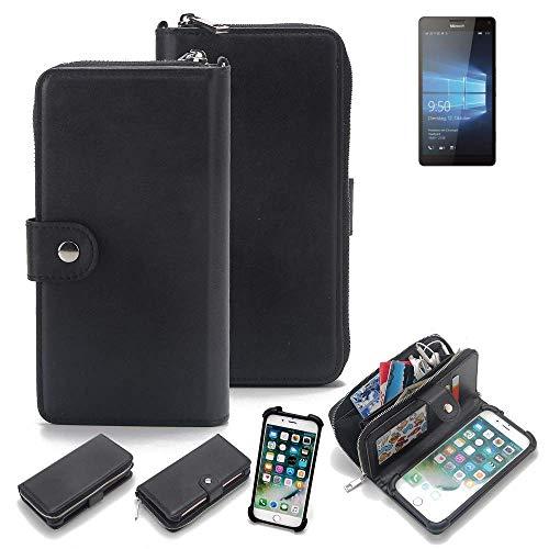 K-S-Trade 2in1 Handyhülle für Microsoft Lumia 950 XL Dual SIM Schutzhülle & Portemonnee Schutzhülle Tasche Handytasche Case Etui Geldbörse Wallet Bookstyle Hülle schwarz (1x)