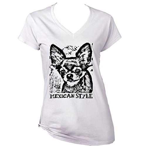 Teesquare1st Women's CHIHUAHUA MEXICAN STYLE PB 17 White T-Shirt Size Large