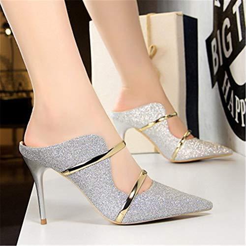 ZHANGY Schuhe Sexy Hohl Frauen Pumpt Mode Bling Hochzeit Schuhe Gold Silber High Heels Frauen Schuhe Kitten Heels Frauen Stiletto,Silver,34
