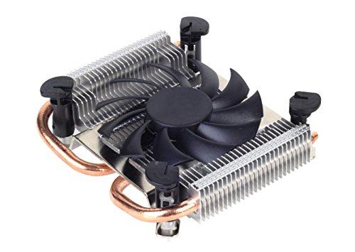 SilverStone SST-AR04 - Argon Thin Mini-ITX CPU-Kühler mit 2 Wärmerohren, Direct Contact Heatpipe-Technologie und 80 mm-PWM-Lüfter für Intel-Sockel -