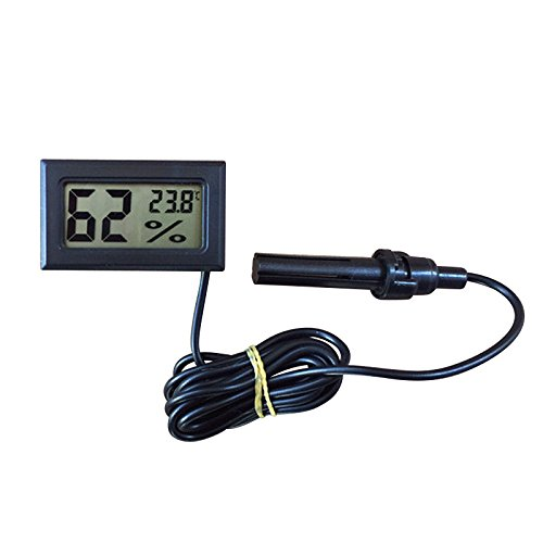 Gosear LCD Digital Incorporado Termómetro Higrómetro con Sonda Externa para Incubadora Acuario Aves Reptil,Negro