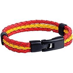 Trendsmax Hechas por el hombre para mujer para hombre Rojo Amarillo rojo de la bandera de Espana 3 filamentos la pulsera de cuero trenzado de cuerda Surfer Munequera