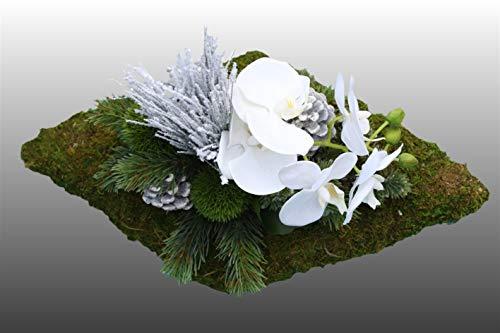 HIKO-EVENTDEKO Grabgesteck Nr.11 Raute aus Moos mit Orchidee und Tanne Totensonntag, Allerheiligen, Grabschmuck, Gedenktag, Trauertage, Gesteck 25 x 35 x 20 cm