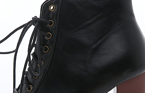 Stiefeletten Absatzschuhe der kurzen Wintermode sexy warme Pelzwölbungsfrauen Damen Stiefel Schwarz Pu