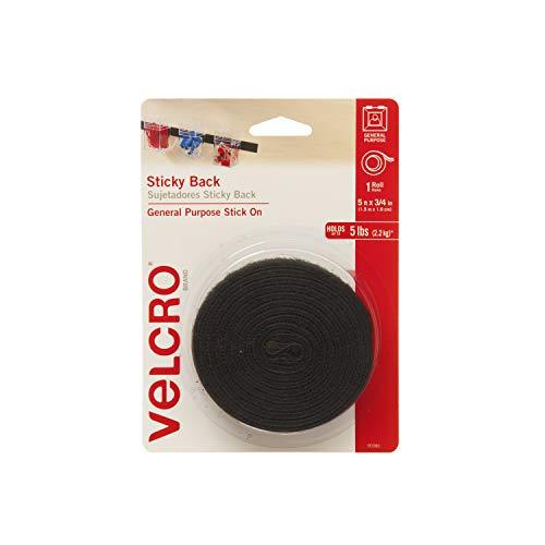 """VELCRO(R) Brand STICKY BACK Tape 3/4""""X5'-Black"""