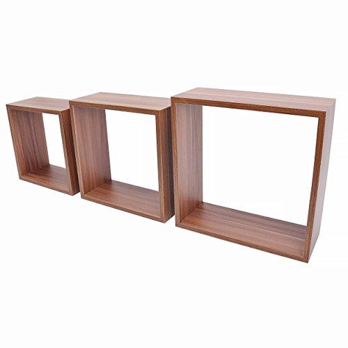 Duraline cubi, con tre ripiani, in legno di noce, 1,2