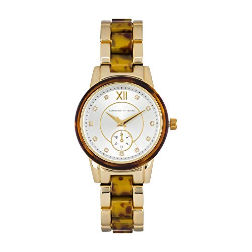 Adrienne Vittadini Collection Womens Tortoise Analog Quartz Watch with Mother of Pearl Dial -