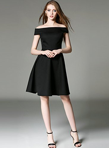 Azbro Women's Vintage Solid Color Off Shoulder A-line Dress Black